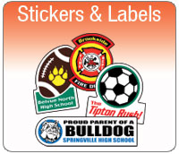 Stickers, labels, decals, bumper stickers, stamps, laser labels, mailing labels, envelopes, stationary, consecutive number labels, static cling, flag labels