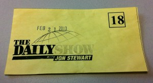 Numbered pass for  The Daily Show